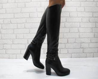 Дамски елегантни  ботуши еко кожа черни VBIG-24835