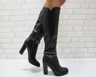 Дамски елегантни  ботуши еко кожа черни EMYP-24837