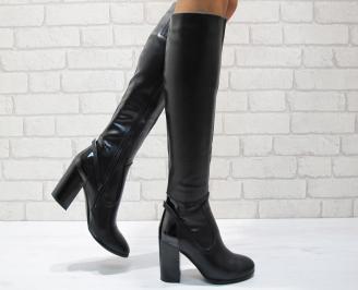 Дамски елегантни  ботуши еко кожа черни UUXM-24840