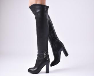 Дамски елегантни  ботуши еко кожа черни FTOC-24841