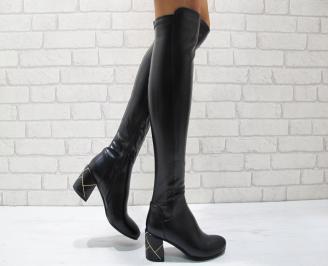 Дамски елегантни  ботуши еко кожа черни VNXS-24846