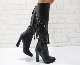 Дамски елегантни  ботуши еко кожа черни PSUH-24851
