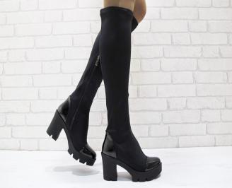 Дамски елегантни  ботуши стреч черни LQOY-24903