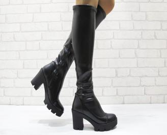 Дамски елегантни  ботуши еко кожа черни RLDS-24905
