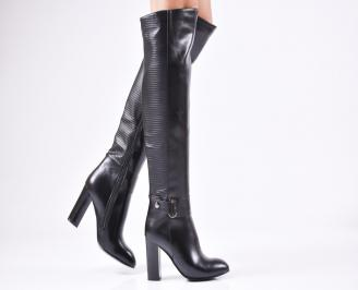 Дамски елегантни  ботуши еко кожа черни UCLT-24914