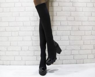 Дамски елегантни  ботуши еко кожа черни FBUD-24915