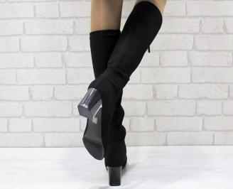 Дамски елегантни  ботуши набук черни MYYO-24934