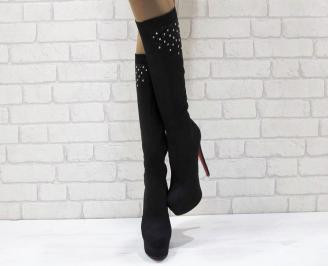 Дамски елегантни ботуши черни еко велур WKOB-24943