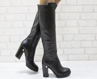 Дамски елегантни  ботуши еко кожа черни LELV-24944