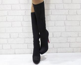 Дамски елегантни ботуши черни еко велур BASM-24946