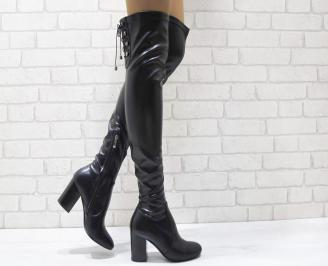 Дамски елегантни ботуши/тип чизми  черни еко кожа JWYW-24947