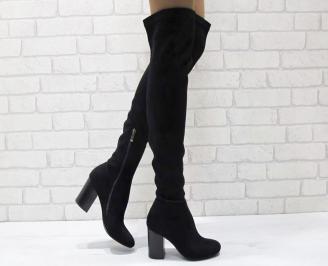 Дамски елегантни ботуши/тип чизми черни еко велур DABG-24948