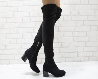 Дамски елегантни ботуши/тип чизми черни еко велур EGWC-24949