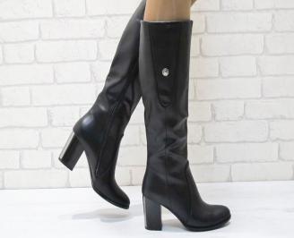 Дамски елегантни  ботуши еко кожа черни GGSK-24955