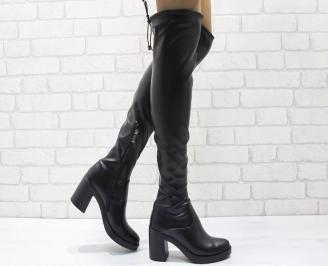 Дамски елегантни ботуши/тип чизми  черни еко кожа LHUV-24956