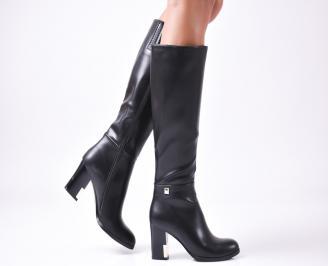 Дамски елегантни  ботуши еко кожа черни MMPH-24958