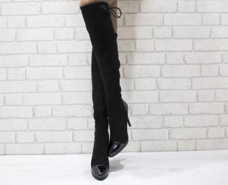 Дамски елегантни ботуши черни еко велур LBTL-24969