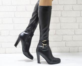 Дамски елегантни ботуши черни еко кожа OVKL-24976