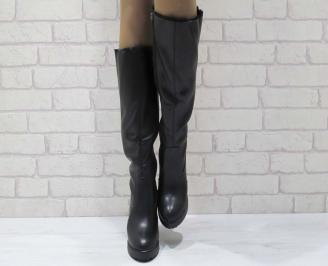 Дамски елегантни ботуши черни еко кожа BCPE-25069