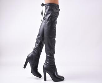 Дамски елегантни ботуши черни еко кожа AAVE-25223