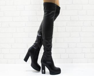 Дамски елегантни ботуши черни еко кожа TGLG-25224