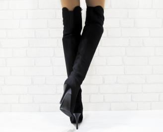 Дамски елегантни ботуши  еко велур черни KJSJ-25233