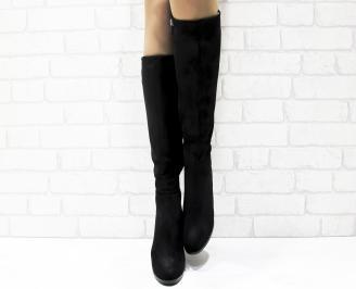Дамски елегантни ботуши  еко велур черни DWMF-25425