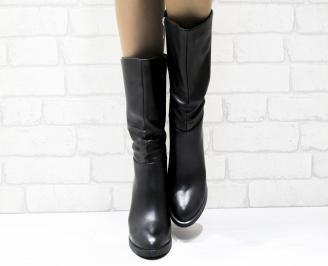 Дамски елегантни ботуши  еко кожа черни AKLU-25433
