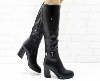 Дамски елегантни ботуши  еко кожа черни DHER-25445