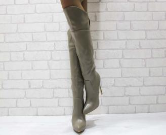Дамски елегантни ботуши еко кожа бежови VVJN-17380