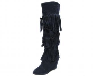Дамски елегантни ботуши еко велур тъмно сини OBEX-18066