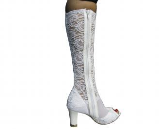 Дамски елегантни ботуши бели дантела AHVN-18860