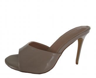 Дамски елегантни чехли еко кожа/лак бежови TUSW-21347