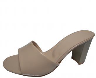 Дамски елегантни чехли еко кожа/лак бежови NFTB-21780