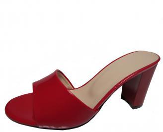 Дамски елегантни чехли еко кожа/лак червени TDLO-21786