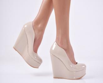 Дамски елегантни обувки   еко лак бежови CFMK-1011119