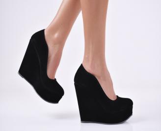 Дамски елегантни обувки   еко велур черни YKVR-1011120