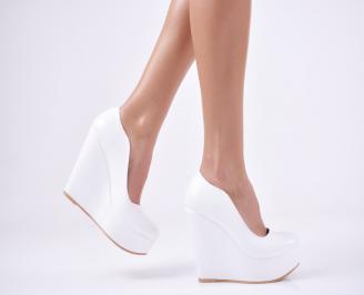 Дамски елегантни обувки  еко кожа бели PDER-1011121