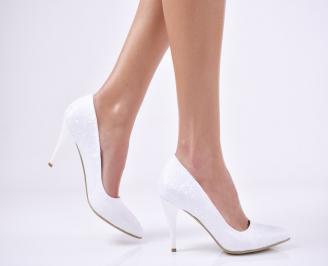 Дамски елегантни обувки сатен бели AKMV-1011194
