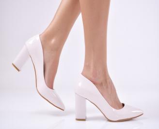 Дамски елегантни обувки еко кожа/лак пудра DUTQ-1011210