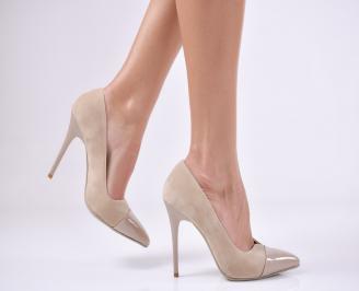 Дамски елегантни обувки еко велур бежови WZJC-1011215