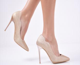 Дамски  елегантни обувки текстил/брокат златисти ZPYP-1011281