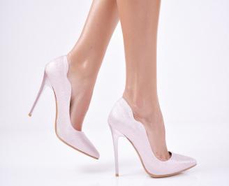 Дамски елегантни обувки  брокат розови PSWA-1011303