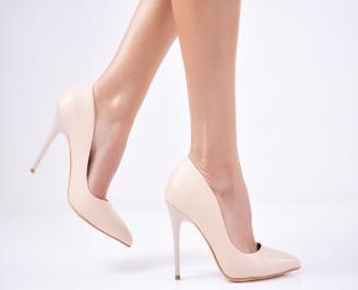 Дамски елегантни обувки еко кожа  бежови GFDP-1011358