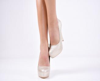 Дамски елегантни обувки еко кожа златисти RFTO-1011363