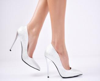 Дамски елегантни обувки еко кожа сребристи MNDA-1011367