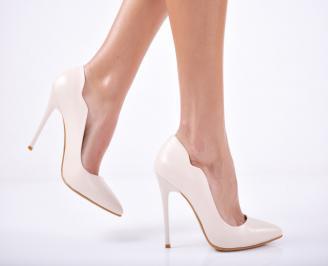 Дамски елегантни обувки еко кожа  бежови XPBV-1011719