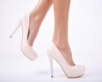 Дамски елегантни обувки еко кожа  бежови PMZO-1011721