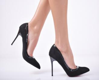 Дамски елегантни обувки еко велур черни LZIF-1011743