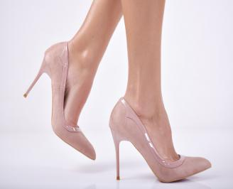 Дамски елегантни обувки еко велур розови MFKK-1011745